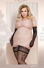 Elegant hosiery plus size Black Patterned hold ups Ballerina 371 20 22 24 26 28