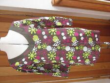 BLUE WAHOO MALU BROWN PINK BRIGHT FLOWER PRINT TUNIC BEACH TOP 10 12
