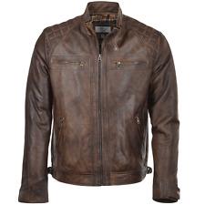 Ceniza de madera Para hombres Calce Entallado Chaqueta De Cuero Biker Collar/Moto - 2101 Marrón