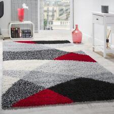 Shaggy Teppich Hochflor Langflor Weich Geometrisch Gemustert Grau Schwarz Rot