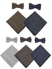 Noeud papillon et pochette pour homme tissu façon tweed à chevrons rétro vintage