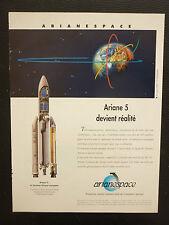 6/1995 PUB ARIANESPACE ARIANE 5 SPACE ESPACE FUSEE ROCKET RAKETE SATELLITE AD