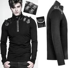 Haut t-shirt gothique punk militaire sangles anneau métal cuir PunkRave homme