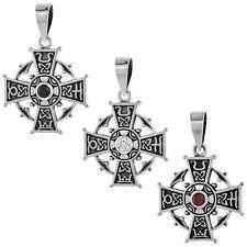 Sterling Silver Celtic Cross Pendant w/ Cubic Zirconia Stone