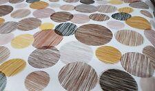 PVC Table Nappe Geo Cercles Choco Marron Latte Beige Tan Line GRIS NOIR lavables