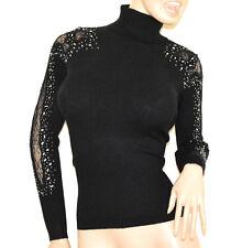 MAGLIONE NERO collo alto donna maglia manica ricamata sottogiacca pullover G3
