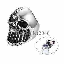 Vintage Black Silver Biker Men's Gothic Pirate Skull Stainless Steel Band Ring