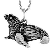 "Sterling Silver Seal Pendant / Charm, 18"" Italian Box Chain"