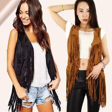 5d545407f9bb88 Ladies Faux Suede Fringed Vest Look Waterfall Tassel Cowboy Waistcoats  Jackets