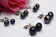 Negro D: 6-10mm de Crianza Agua Dulce Perlas Joya Pendientes de botón Plata 925