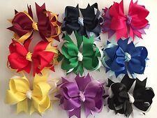 "Handmade Grosgrain Ribbon 4.5"" Summer Party School Stacked Bow Barrette Clip"