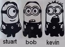 Sticker lot des 3 minions stuart, bob, kevin , pour déco chambre, porte etc.....