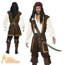 Mens High Seas Pirate Costume Adult Jack Sparrow Buccaneer Captain Fancy Dress