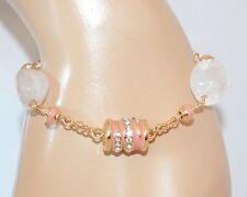 BRACCIALE oro donna PIETRE rosa AMETISTA elegante strass perle idea regalo E25