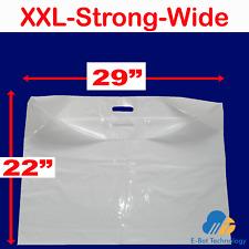 "Extra Grande Liso Blanco 29""x22""+3"" Plástico Fuerte Mango De Parche Ancho carrier bags"