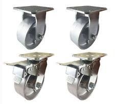 """4 Heavy Duty Caster Set 5"""" 6"""" 8"""" All Steel Wheels Rigid & Total Lock Brake"""