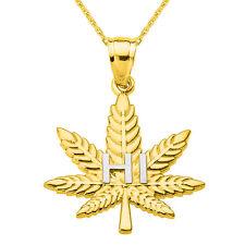 "14k Yellow Gold Marijuana Pot Weed Cannabis Leaf ""HI"" Script Pendant Necklace"