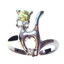 (SIZE 6,7) Fancy KITTY CAT RING w/ Green & White CZ Gems .925 STERLING SILVER
