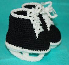 Handmade Crochet Hockey Skates Baby Booties 0-6 Months