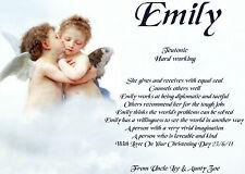 Personalised Birthday, Christening,Certificate Scroll Cherubs,Angels,Fairies