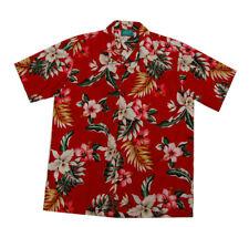 Red Cotton White hibiscus pink orchid flower Hawaiian Men Aloha Shirt-S-6X