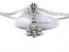 Cute Silver Tone 3D Baby Honey Queen Bee Hornet Slide Dangle Charm fits Bracelet