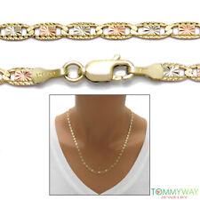 "10K Yellow Gold Tri-Color Valentino Chain Necklace 3mm 16""-24"""