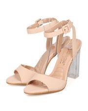 New Women DbDk Chacha-9 Leatherette Ankle Strap Lucite Block Heel Sandal