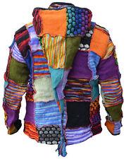 in lana BOLLE MAGLIA PATCHWORK Hippie FOLLETTO lungo cappuccio inverno Boho