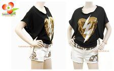 Celebrity Women Heart Break Sequine Wide Sleeve Jersey Shirt Dancer Top S M L XL