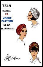 Vogue 7519 Hat Turban Fabric sewing pattern Designer Halston Vintage Millinery