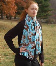 Mod Swirls Aqua Blue Brown  Print Fleece Scarf