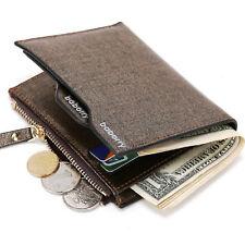 Men's Leather Zipper Short Wallet Purse Card Coin Bag Business Pocket Money Clip