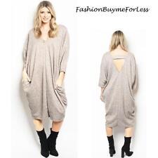 BOHO Gray Haute Gypsy FLEECE Knit Pockets Hippie Maxi Sweater Dress S M L XL