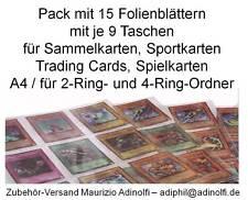 Folienblätter für bis zu 270 Trading Cards Sport Karten Bergmann Spielkarten usw