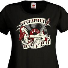 Tee Shirt Femme ROCKABILLY AND ROCK'N'ROLL - Pin-Up Retro Vinyle 50's 60's SUN