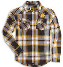 Ducati Scrambler Checkered Check Shirt Shirt Yellow Grey Turquoise NEW