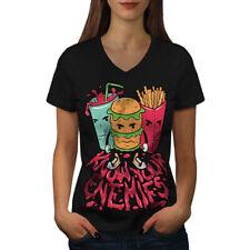 Comida basura Hamburguesa Papas Fritas Mujeres Escote en V Camiseta Nuevo | wellcoda