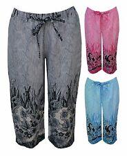 New Women Ladies Linen Border 3/4 Elastic Waist Bottoms Trouser Plus SIze 12-28