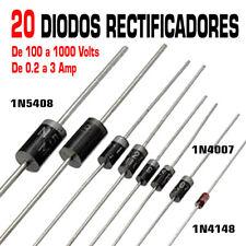 20x Diodo rectificador 0.2 a 3 Amp y 100 a 1000 Volts. 1N4148 1N4007 1N5408.