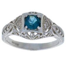 0.50 Ct London Blue Topaz & Diamond Round Ring .925 Sterling Silver