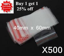 500 40mmx60mm Small Zip Lock Plastic Bags Resealable Ziplock Bags Zippers 4x6cm