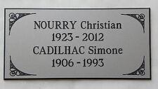 plaque gravée funéraire  3 ou 4  lignes + enjolivures pt format 48x100 mm
