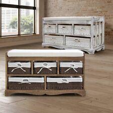 Banco arcón dormitorio cestas cómoda estanteria blanca 5 cestas blanco/marrón