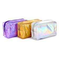 Fashion Holographic Pencil Case Cosmetic Makeup Pouch Storage Zipper Purse Bag