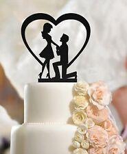 Fidanzato & fidanzata nell'uomo sul ginocchio e Heart wedding Engagement cake topper