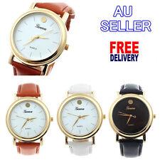 Luxury Gold Simple Wristwatch Men Women PU Leather Analog Quartz 2016 Hot Gift