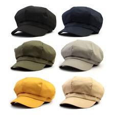Unisex Mens Womens Solid Color Baker Boy Cabbie Gatsby Flat Cap Newsboy Hats
