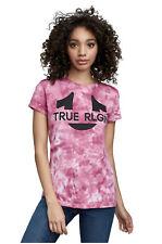 True Religion Women's Horseshoe Crew Neck Tee T-Shirt in Boysenberry Tie Dye
