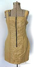 New NWT Walter gold tan shimmer zipper ruched tank dress M